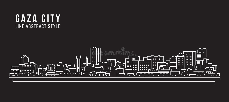 Cityscape Building Line art Vector Illustration design - Gaza city stock illustration
