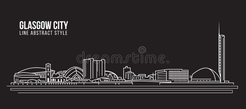 Cityscape Building Line art Vector Illustration design - Glasgow city vector illustration