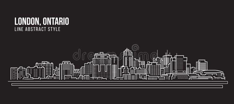 Cityscape Building Line art Vector Illustration design - London ,Ontario royalty free illustration