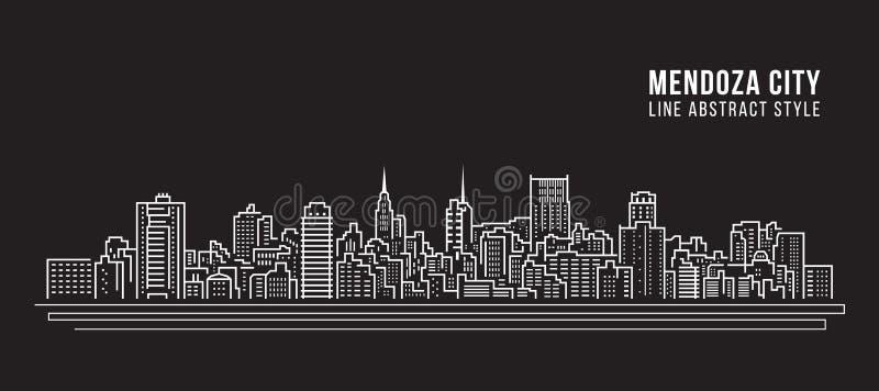 Cityscape Building Line art Vector Illustration design - Mendoza city vector illustration