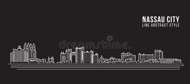 Cityscape Building Line art Vector Illustration design - Nassau city vector illustration