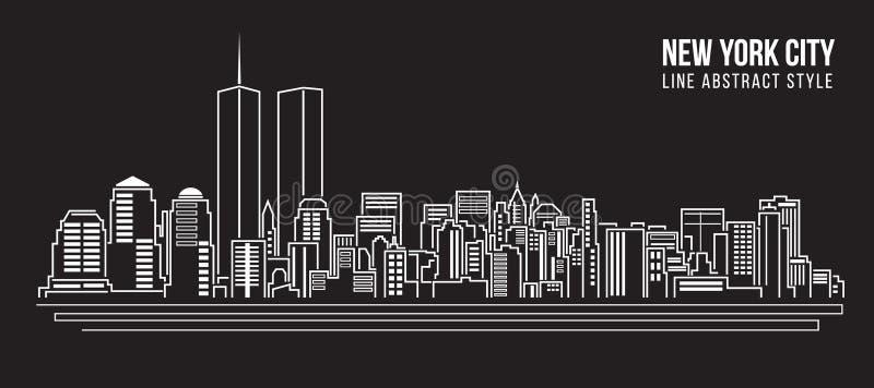 Line Art New York : Cityscape building line art vector illustration design