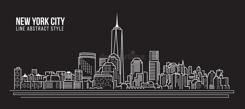 Cityscape Building Line art Vector Illustration design - New York city stock illustration
