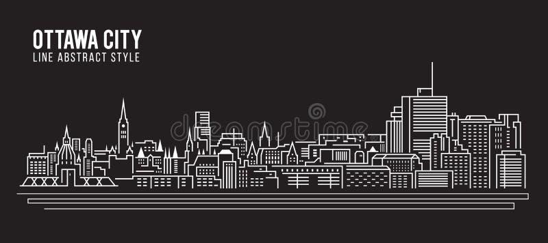 Cityscape Building Line art Vector Illustration design - Ottawa city stock illustration