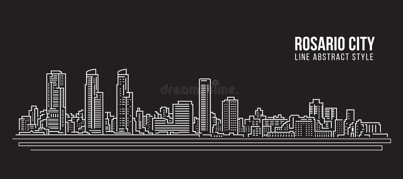 Cityscape Building Line art Vector Illustration design - Rosario city vector illustration