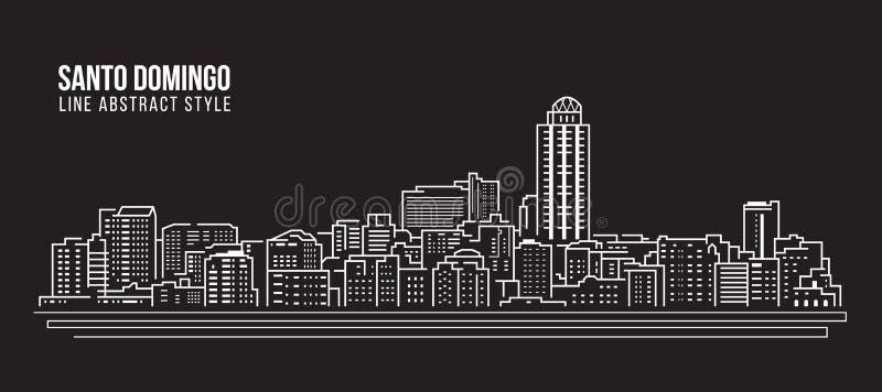 Cityscape Building Line art Vector Illustration design - santo domingo city stock illustration