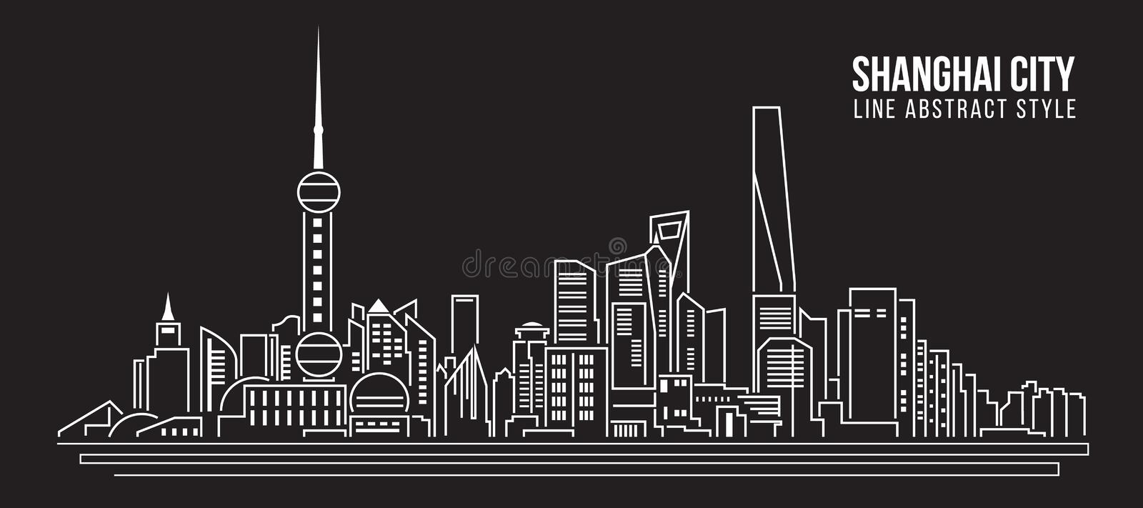 Cityscape Building Line art Vector Illustration design - Shanghai city stock illustration