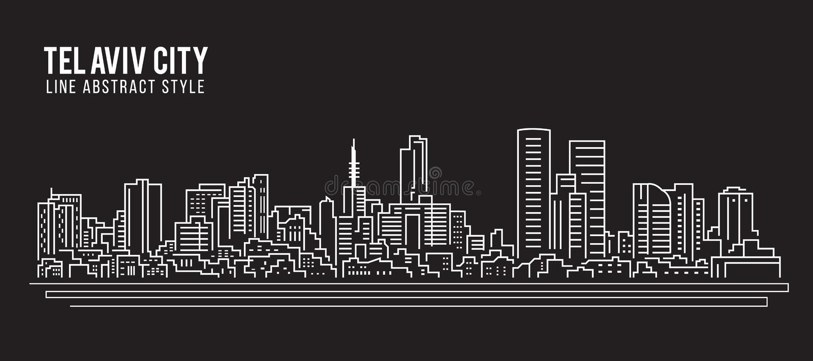 Cityscape Building Line art Vector Illustration design - Tel Aviv city stock illustration