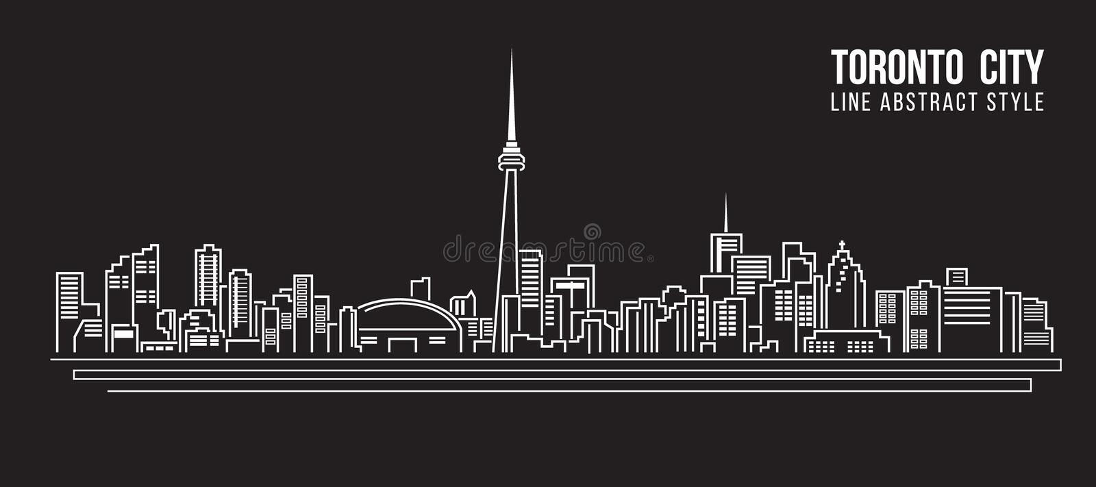 Cityscape Building Line art Vector Illustration design - Toronto city royalty free illustration