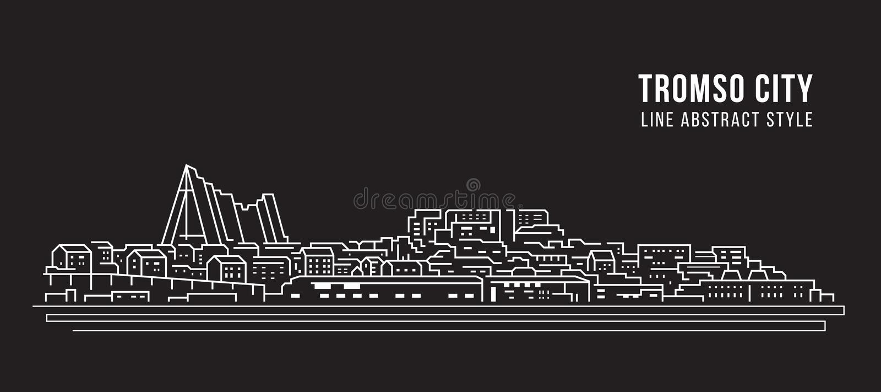 Cityscape Building Line Art Vector Illustration Design - Tromso City vektor abbildung