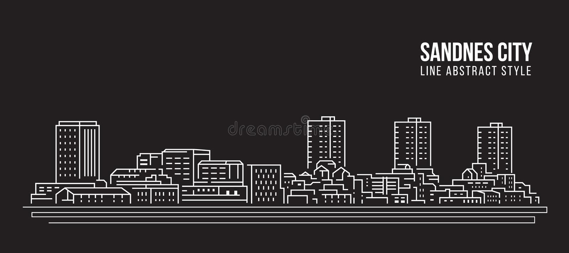 Cityscape Building Line Art Vector Illustrator design - город Санднес бесплатная иллюстрация