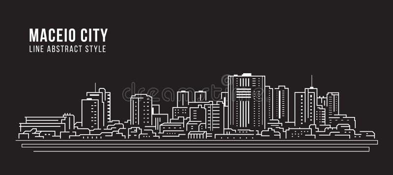 Cityscape Building panorama arte Línea Vector Diseño ilustrativo - Ciudad de Maceio stock de ilustración