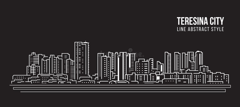 Cityscape Building panorama Arte Vector Diseño ilustrativo - Ciudad de Teresina stock de ilustración