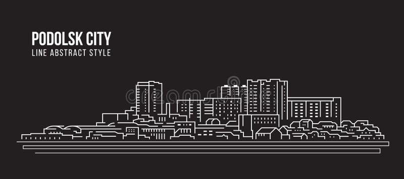 Cityscape Building panorama Line art Illustration-design - staden Podolsk stock illustrationer