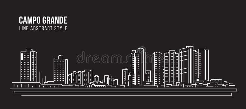 Cityscape Building panorama Line Art Vector Illustration Design - Campo Grande Stadt stock abbildung