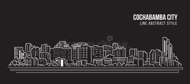 Cityscape Building Panorama Line Art Vector Illustration Design - Cochabamba Stadt lizenzfreie abbildung