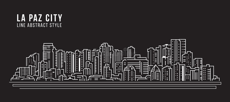 Cityscape Building Panorama Line Art Vector Illustration Design - La Paz Stadt lizenzfreie abbildung