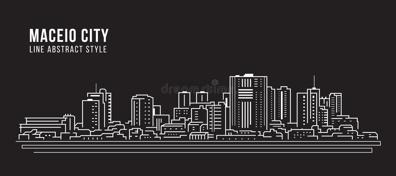 Cityscape Building panorama Line Art Vector Illustration Design - Maceio Stadt stock abbildung