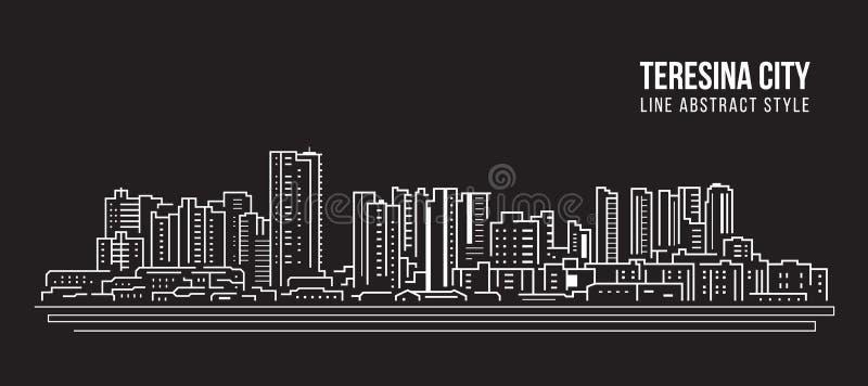Cityscape Building panorama Line Art Vector Illustration Design - Teresina Stadt stock abbildung