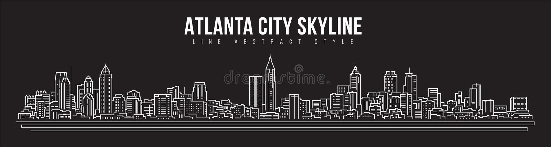 Cityscape Building panorama Line Art Vector Illustrator design - город Атланта иллюстрация штока