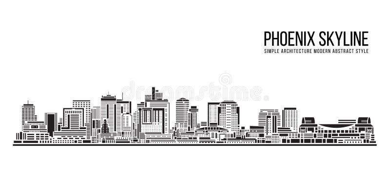 Cityscape Building Prosta architektura nowoczesny styl abstrakcyjny sztuka Vector Ilustracja design - Phoenix city ilustracji