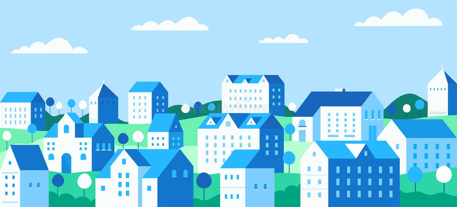 Cityscape with buildings, private houses and trees against the background mountains and hills. Concept suburban life stock illustration