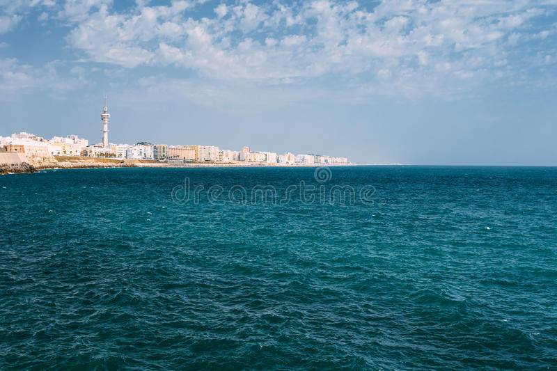 Cityscape of Cadiz town in Spain. Blue sky and sea. Cityscape of Cadiz town in southern Spain. Blue sky and sea royalty free stock photos