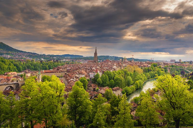 Cityscape Capital City of Bern, Switzerland, Panoramic Scenery Old Town City View and Swiss Architectural Historical Building in B. Ern. Architecture Hosing and royalty free stock image