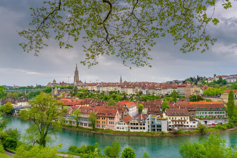 Cityscape Capital City of Bern, Switzerland, Panoramic Scenery Old Town View and Swiss Architectural Building in Bern. Travel stock photo