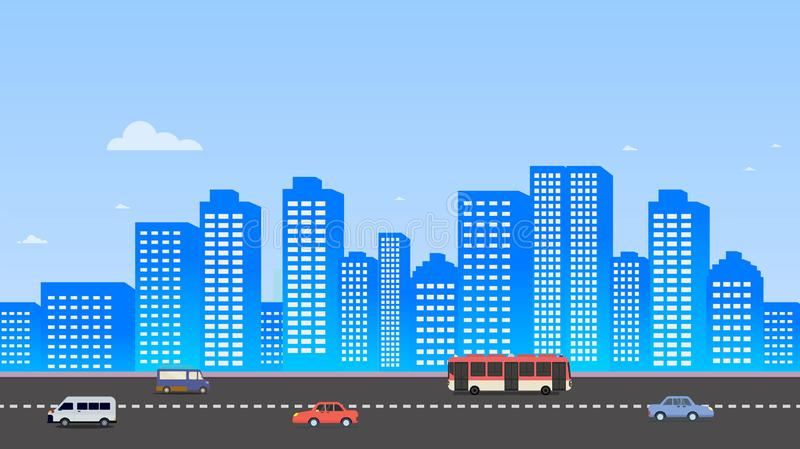 Cityscape with cars on street and sky background illustration.Buildings landscape. Daytime cityscape in flat style. Modern city scene design vector illustration