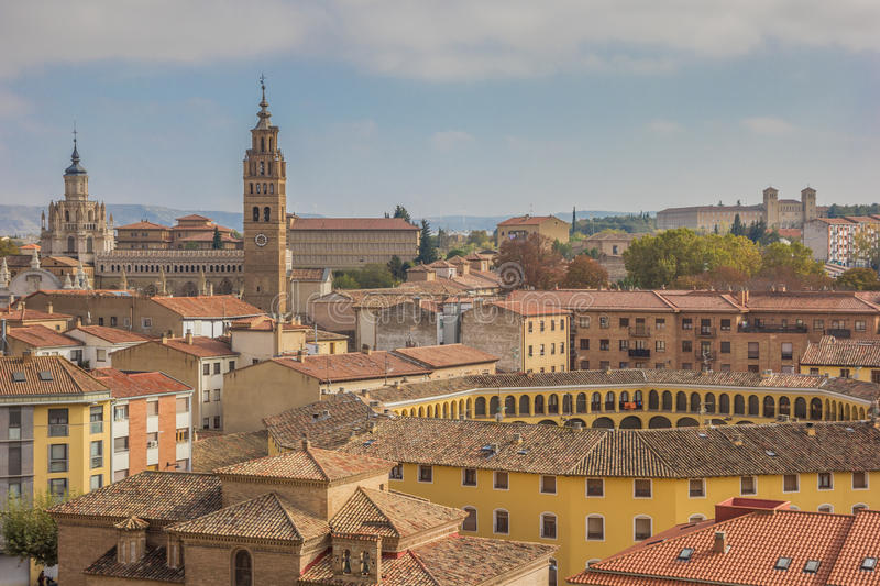 Cityscape with the cathedral and bullring of Tarazona. Spain stock images