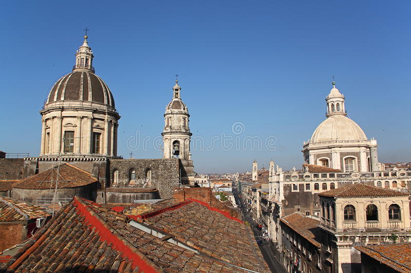 Cityscape and Cathedral of Catania, Italy royalty free stock images