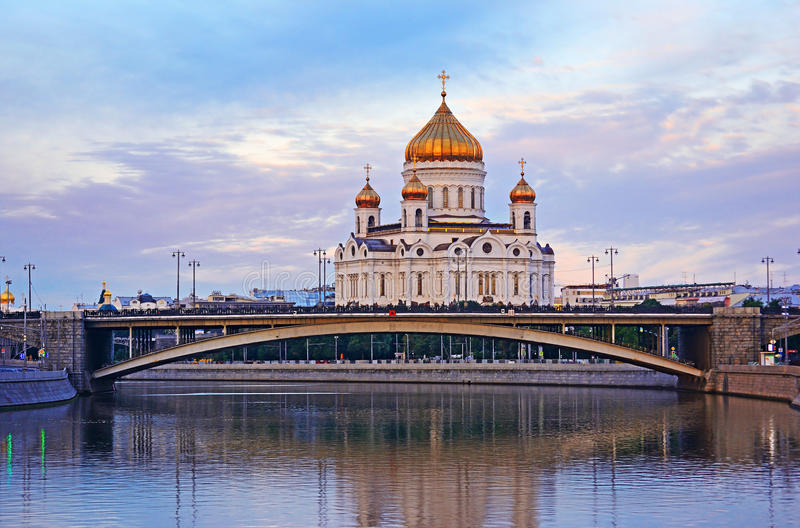 Cityscape of The cathedral church of Christ the Savior in Moscow, Russia. Cityscape view from the river with bridge to The cathedral church of Christ the Savior stock photo