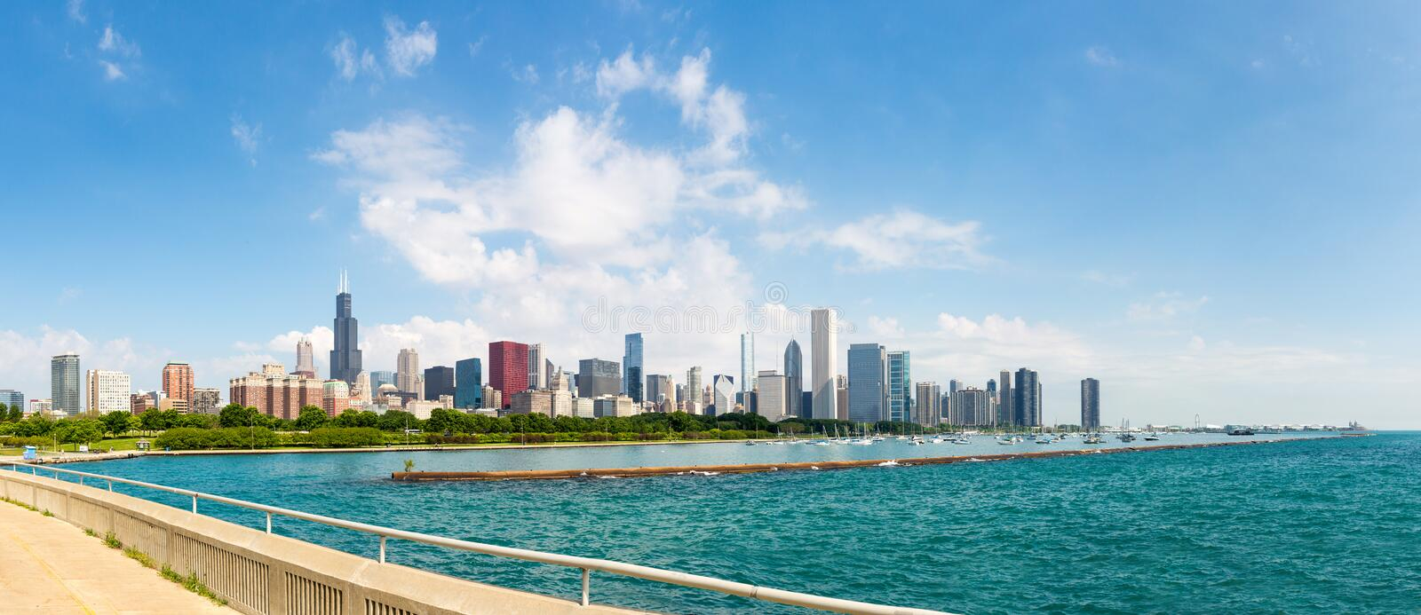 Cityscape of Chicago in a summer day. Illinois USA royalty free stock photos