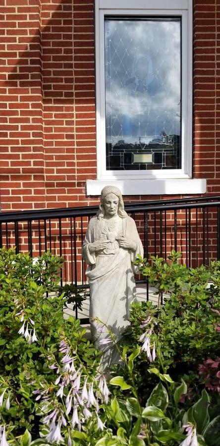 Cityscape - Christian Religious Statue - Ellijay Georgia Town Square stock image