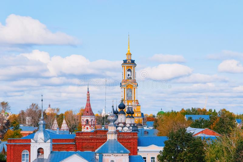 Cityscape with churches in Suzdal town in Vladimir. Oblast in Russia stock image