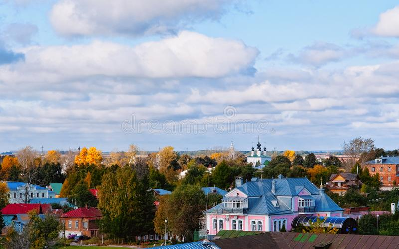 Cityscape with churches in Suzdal town of Vladimir oblast. In Russia royalty free stock photography