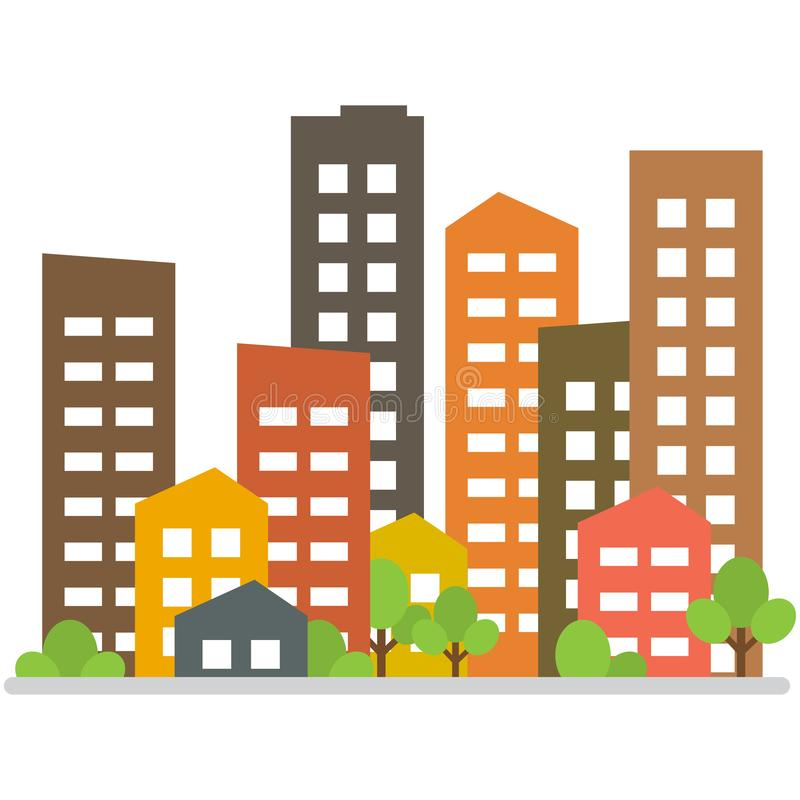 Cityscape. City buildings, housing district, town homes. Vector illustration royalty free illustration