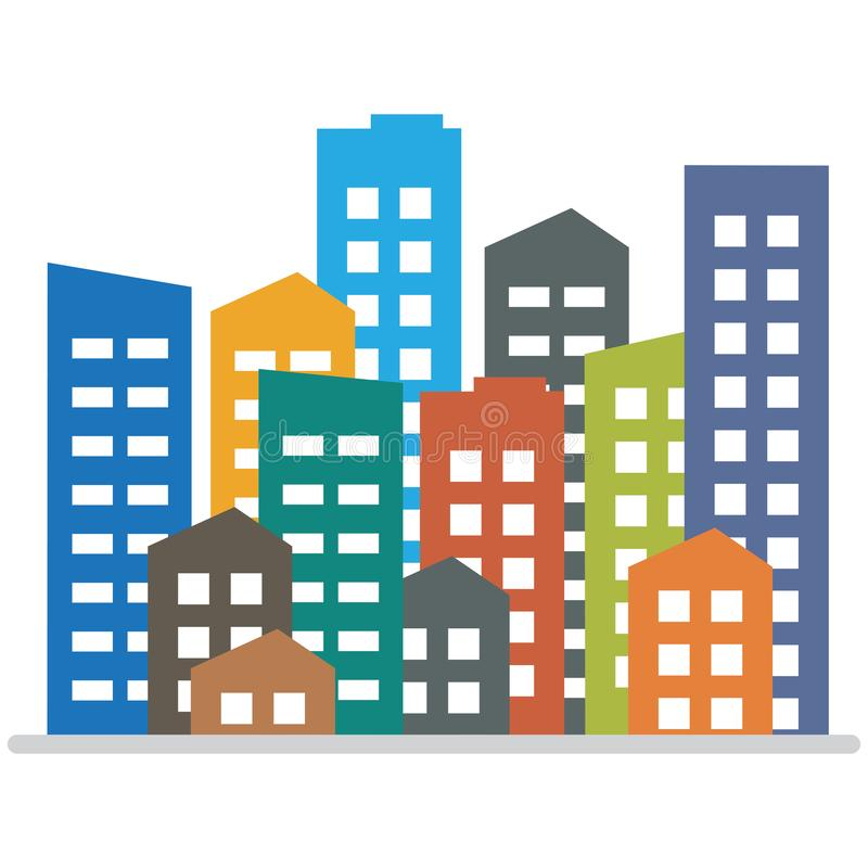 Cityscape. City buildings, housing district, town homes. Vector illustration vector illustration