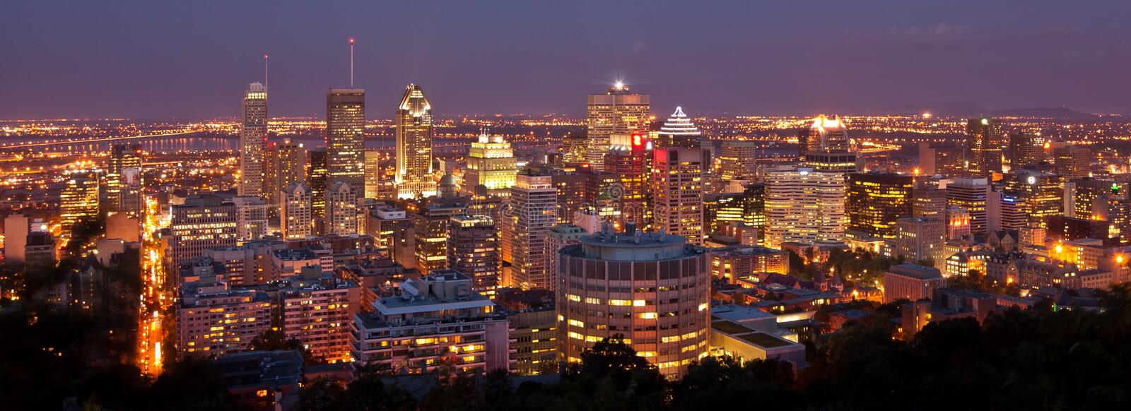 Cityscape City Lights Mont Blanc Montreal Canada royalty free stock image