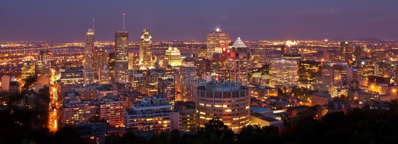 Cityscape City Lights Mont Blanc Montreal Kanada royaltyfri bild