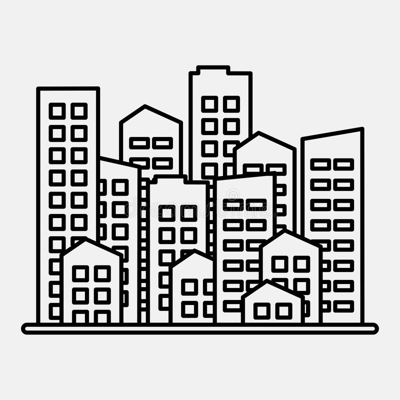 Cityscape. City modern buildings, housing district, town homes. Black outline design on gray background. Vector stock photo