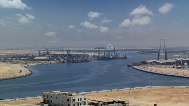 Cityscape coastline of Ajman from rooftop day timelapse. Ajman is the capital of the emirate of Ajman in the United Arab Emirates stock photos
