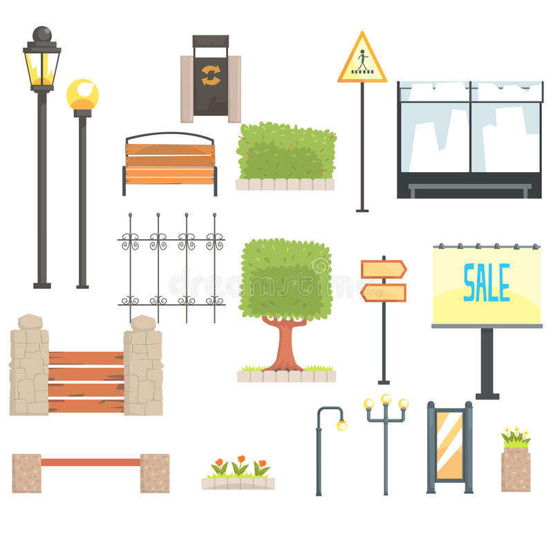 Cityscape Constructor Elements Set In Cute Cartoon Geometric Design, Town Landscape Design Templates. vector illustration