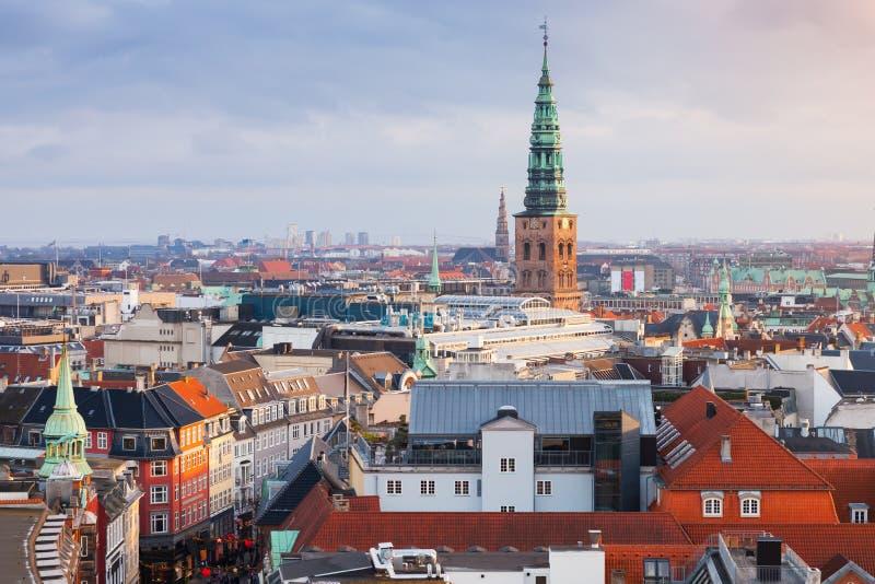 Cityscape of Copenhagen with spire of City Hall royalty free stock photo