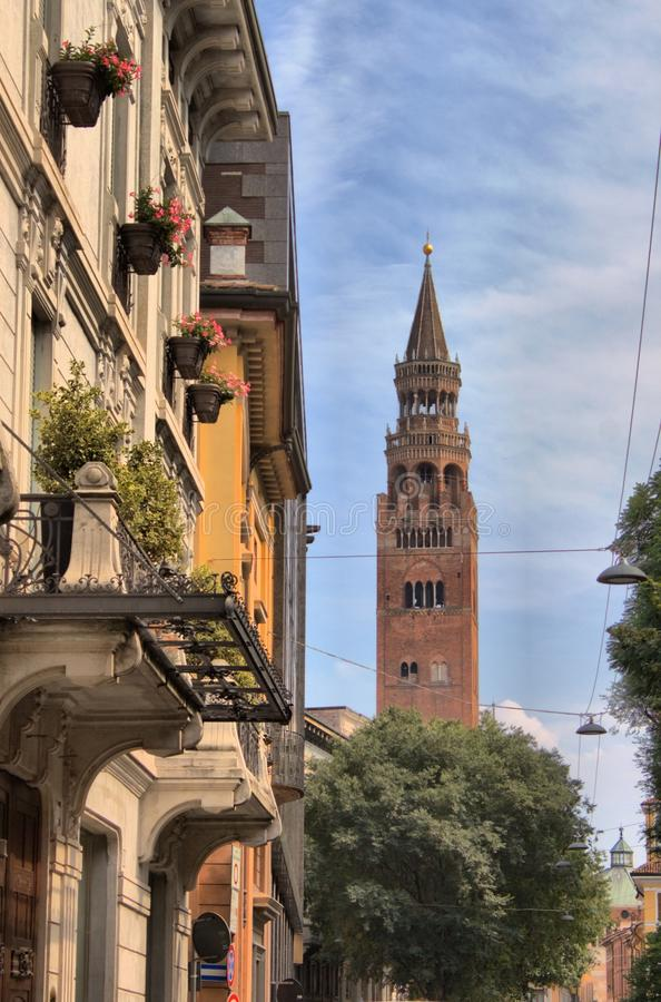 Cityscape of Cremona with Torrazzo royalty free stock photography