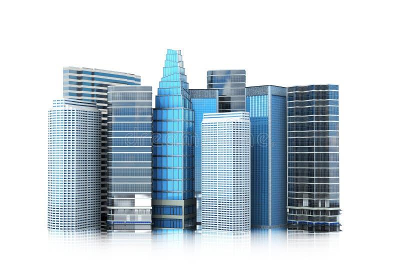 cityscape, de moderne bouw op een witte achtergrond royalty-vrije illustratie