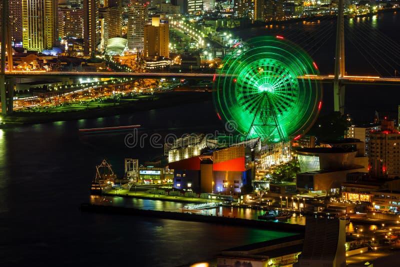 Cityscape in de Nacht van Osaka Bay royalty-vrije stock afbeeldingen