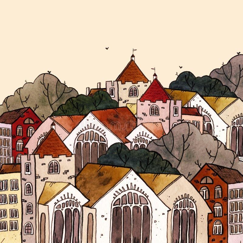 Cityscape de oude illustratie van de stadshand getrokken waterverf Oud stadslandschap met toren, huizen, bomen De schets van de G royalty-vrije illustratie
