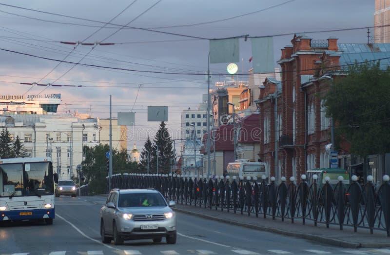 Cityscape De sectie van Karl Liebknecht Street van de Straat van Lenin aan Malyshev-Straat ng Toeschouwer royalty-vrije stock foto's
